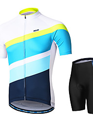 cheap -Arsuxeo Men's Short Sleeves Cycling Jersey with Shorts White Stripes Bike Clothing Suit 3D Pad Moisture Wicking Sports Stripes Mountain Bike MTB Road Bike Cycling Clothing Apparel / Micro-elastic