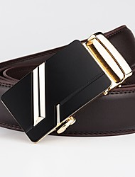 cheap -Men's Basic Leather Waist Belt - Geometric / Solid Colored