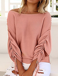 cheap -Women's Daily Vintage / Street chic Solid Colored Long Sleeve Batwing Sleeve Loose Regular Pullover Sweater Jumper, Off Shoulder Spring / Fall Wool Black / Wine / Blushing Pink S / M / L / Tassel