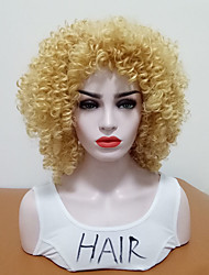 cheap -Synthetic Wig Curly Side Part Wig Blonde Medium Length Blonde Synthetic Hair Women's Heat Resistant With Bangs Blonde