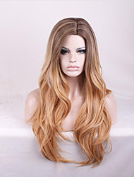 cheap -Human Hair Lace Wig Curly Bob Middle Part Wig Long Black / Strawberry Blonde Synthetic Hair Women's Fashionable Design Party Light Brown