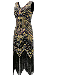 cheap -The Great Gatsby Charleston Vintage 1920s The Great Gatsby Flapper Dress Dress Women's Sequins Costume Golden Vintage Cosplay Party Prom Sleeveless Knee Length