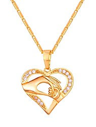 cheap -Cubic Zirconia tiny diamond Pendant Necklace Mother Daughter Heart Hollow Heart Ladies Fashion Copper Gold Silver Rose Gold 55 cm Necklace Jewelry For Daily