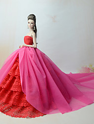 cheap -Doll Dress Party / Evening For Barbiedoll Lines / Waves Multi Color Lace Fuchsia Poly / Cotton Lace Dress For Girl's Doll Toy