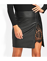 cheap -Women's Daily Work Sexy Skirts Solid Colored Split Lace Black