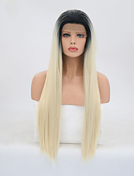 cheap -Synthetic Lace Front Wig Straight Layered Haircut Lace Front Wig Blonde Long Black / Gold Synthetic Hair Women's Natural Hairline Blonde