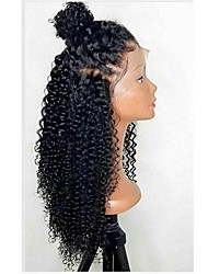 cheap -Synthetic Lace Front Wig Curly Minaj Layered Haircut Lace Front Wig Burgundy Long Natural Black Black / Brown Burgundy Synthetic Hair Women's with Baby Hair Heat Resistant Natural Hairline Black