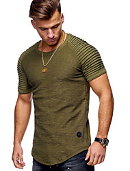 cheap -Men's Daily Weekend Basic Cotton T-shirt - Solid Colored Round Neck Black / Short Sleeve