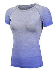 cheap -Women's Crew Neck Compression Shirt Rainbow Spandex Yoga Fitness Gym Workout Tee / T-shirt Compression Clothing Short Sleeve Activewear Lightweight Fast Dry Breathability Stretchy Stretchy