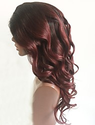 cheap -Remy Human Hair Lace Front Wig Layered Haircut Rihanna style Brazilian Hair Wavy Burgundy Wig 130% Density with Baby Hair Ombre Hair Dark Roots Women's Short Medium Length Long Human Hair Lace Wig