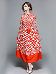 cheap -Women's Daily / Holiday Basic / Street chic Skater Dress - Floral V Neck / Shirt Collar Spring Red M L XL