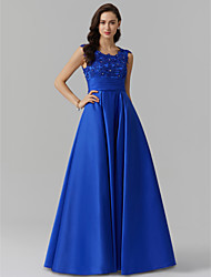 cheap -A-Line Elegant Blue Prom Formal Evening Dress Jewel Neck Sleeveless Floor Length Stretch Satin with Beading Appliques 2020
