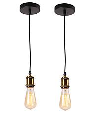 cheap -2-Light 2 pcs Vintage Loft Mini Pendant Lights Metal Bars Kitchen Dining Room Pendant Light
