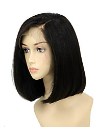 cheap -Remy Human Hair Lace Front Wig Bob Short Bob Side Part style Indian Hair Straight Natural Wig 130% Density with Baby Hair Silky Hot Sale Natural Hairline Bleached Knots Women's Short Human Hair Lace