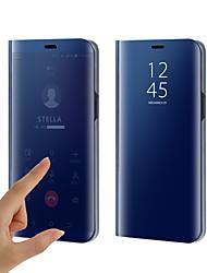 cheap -Phone Case For Samsung Galaxy Full Body Case Silicone Flip S9 S9 Plus S8 Plus S8 S7 edge S7 S6 edge plus S6 edge S6 Plating Mirror Flip Solid Color Hard Silicone