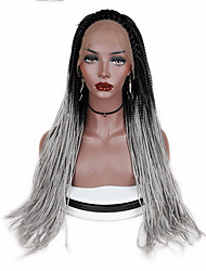 cheap -Synthetic Lace Front Wig Straight Middle Part Lace Front Wig Medium Length Long Grey Synthetic Hair Women's Gift New Arrival Faux Locs Wig Black Gray