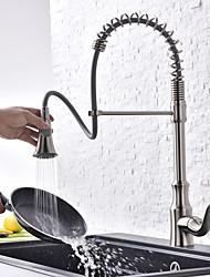 Недорогие -кухонный смеситель - Одной ручкой одно отверстие Матовый никель Стандартный Носик По центру Современный Kitchen Taps / Латунь