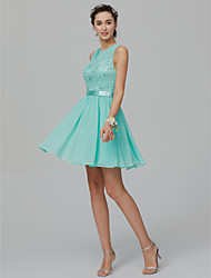 cheap -Ball Gown Jewel Neck Short / Mini Chiffon / Lace Elegant / Pastel Colors Cocktail Party / Homecoming Dress with Beading / Sash / Ribbon 2020