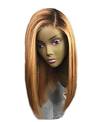cheap -Remy Human Hair Lace Front Wig Bob Short Bob style Brazilian Hair Straight Blonde Two Tone Wig 130% Density with Baby Hair Ombre Hair Dark Roots Women's Short Human Hair Lace Wig Aili Young Hair