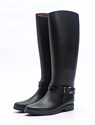 cheap -Women's Boots Low Heel PVC Leather Over The Knee Boots Rain Boots Fall Black