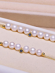 cheap -Women's Cubic Zirconia Freshwater Pearl Chain Bracelet Simple Sweet Fashion Stainless Steel Bracelet Jewelry Blue For Party Going out / S925 Sterling Silver