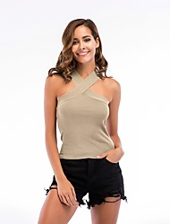 cheap -Women's Daily Active Cotton Slim Tank Top - Solid Colored Halter Neck Black / Summer / Sexy