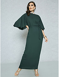 cheap -Women's Flare Sleeve Plus Size Party / Work Street chic / Sophisticated Maxi Slim Bodycon / Sheath Dress - Solid Colored High Waist Spring Green XL XXL XXXL