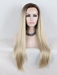 cheap -Synthetic Lace Front Wig Straight Layered Haircut Lace Front Wig Medium Length Black / Gold Synthetic Hair Women's Curler & straightener Dark Brown Gold Blonde Ombre Skyworth