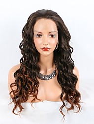cheap -Synthetic Lace Front Wig Curly Layered Haircut Lace Front Wig Medium Length Black / Brown Synthetic Hair Women's Ombre Hair Dark Brown Gold Blonde Ombre Paste