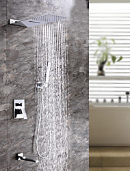 Недорогие -Смеситель для душа - Современный Хром Душевая система Керамический клапан Bath Shower Mixer Taps / Латунь / Одной ручкой четыре отверстия