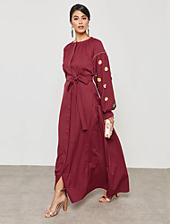 cheap -Women's Plus Size Party / Work Street chic / Sophisticated Maxi Loose Sheath / Tunic / Swing Dress - Solid Colored Sun Flower, Beaded High Waist Summer Blue Red XL XXL XXXL / Sexy