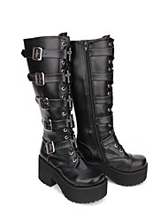 cheap -Women's Lolita Shoes Boots Classical Gothic Lolita Gothic Creepers Shoes Solid Colored 8 cm Black PU(Polyurethane) Halloween Costumes