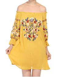 cheap -Women's Off Shoulder Mini Yellow Red Dress Summer Holiday Shift Tribal Puff Sleeve Off Shoulder Black Print S M / Cotton