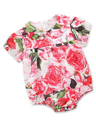 cheap -Baby Girls' Active / Basic Daily / Holiday Floral / Print Artistic Style / Printing Short Sleeves Romper Blushing Pink / Toddler