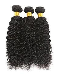 cheap -3 Bundles Brazilian Hair Kinky Curly Human Hair Unprocessed Human Hair Natural Color Hair Weaves / Hair Bulk Bundle Hair Human Hair Extensions 8-28 inch Black Natural Color Human Hair Weaves / 8A
