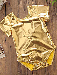 cheap -Baby Girls' Active / Punk & Gothic Daily / Birthday Solid Colored / Patchwork Tassel / Novelty / Stylish Short Sleeves PU Bodysuit Gold