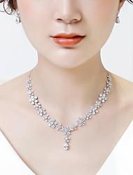 cheap -Women's Cubic Zirconia Jewelry Set Drop Earrings Pendant Necklace Flower Fashion Earrings Jewelry White For Wedding Formal