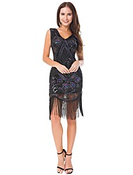 cheap -The Great Gatsby Charleston Vintage 1920s Roaring 20s Flapper Dress Dress Women's Lace Sequins Costume Black Vintage Cosplay Party Homecoming Prom Sleeveless Knee Length Ball Gown Plus Size
