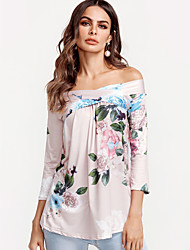 cheap -Women's Going out Weekend Boho Cotton Loose Blouse - Floral Print Off Shoulder Blushing Pink / Sexy