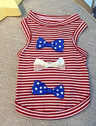 cheap -Dog Cat Pets Vest Striped Bowknot Stars Sweet Style Fashion Dog Clothes Red Blue Costume Cotton / Polyester XXS XS S M L