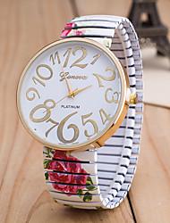 Недорогие -Жен. Наручные часы Кварцевый Черный / Белый / Зеленый Повседневные часы Крупный циферблат Аналоговый Дамы Цветы Мода - Черный Зеленый Розовый