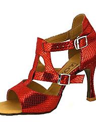 cheap -Women's Dance Shoes Faux Leather Latin Shoes / Salsa Shoes Buckle / Ribbon Tie Sandal / Heel Customized Heel Customizable Red / Blue / Golden / Performance / Professional / EU40