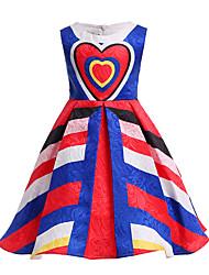 cheap -Kids Girls' Vintage Sweet Party Holiday Striped Bow Print Sleeveless Midi Dress Blue / Cotton