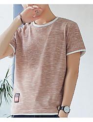 abordables -Tee-shirt Homme, Bloc de Couleur - Coton Basique Col Arrondi Gris Foncé / Manches Courtes / Eté