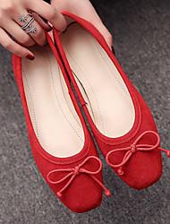 cheap -Women's Flats Flat Heel PU Comfort Spring Black / Yellow / Green