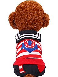 cheap -Dog Cat Pets Sweater Sweatshirt Jumpsuit Striped Heart Patterned Sweet Style Stripes Dog Clothes Black Red Costume Cotton XXS XS S M L