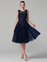 cheap -A-Line Jewel Neck Knee Length Lace Over Tulle Elegant / Blue Cocktail Party / Prom Dress with Beading / Appliques 2020