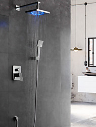cheap -Shower Faucet Set - Rainfall Contemporary Chrome Wall Mounted Ceramic Valve Bath Shower Mixer Taps / Brass / Single Handle Four Holes