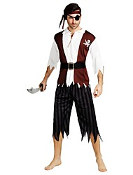 cheap -Pirates of the Caribbean Costume Men's Halloween Halloween Carnival Masquerade Festival / Holiday Polyster Coffee Carnival Costumes Solid Colored Striped Halloween