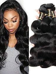 cheap -3 Bundles Brazilian Hair Body Wave Virgin Human Hair Human Hair Extensions Black Natural Color Human Hair Weaves For Black Women 100% Virgin Human Hair Extensions / 10A